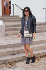 leopard dress, leather moto jacket, studded bag-2.jpg (LyddieGal) Tags: black fall fashion outfit boots style grayson leopard express wardrobe tjmaxx wallis leatherjacket rayban studded colehaan lineapelle officestyle gorjana