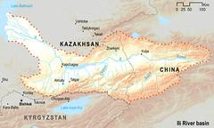 Ili river basin (Zoi Environment Network) Tags: china lake ecology river map altitude basin reservoir relief environment geography centralasia kazakhstan kyrgyzstan ili almaty issykkul topography tekes moneca balkhash syrdarya charyn kunes