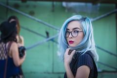 Nicole (micadew) Tags: street cute beautiful beauty interesting longhair streetphotography bluehair interestingfaces micadew