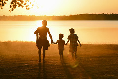 My Daddy (SaravutWhanset) Tags: life light sunset summer people sun sunlight fish love girl river daddy landscape photography fisherman learning farther chield