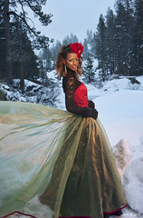Epic Christmas Dress (All About Light!) Tags: red snow black green fashion glamour models christmascolors snowprincess arthurkochphotography