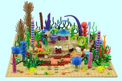 Sometimes You Need To Come Out Of Your Shell & Enjoy The Beauty Around You (MinifigNick) Tags: ocean coral hermitcrab lego crab hermit seabed oceanbed
