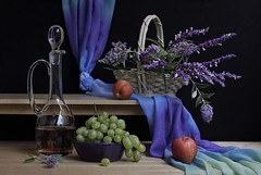 Stream of Life (Esther Spektor - Thanks for 11+ millions views..) Tags: stilllife naturemorte bodegon naturezamorta stilleben naturamorta flow composition art creativephotography artisticphoto arrangement tabletop shelf food fruit apple grape cluster wine flowers basket decanter bowl scarf knot glass ceramics wooden availablelight reflection red blue green purple lavender beige black estherspektor canon