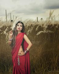 kashfia (Safaria Suhas) Tags: photography portrait people pretty photographer performer safaria suhas outdoor daylight depth dreamylook dhaka red redbeauty uttara bangladesh sari day rainyday
