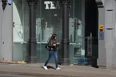 Urban Fashion, High Street, Northern Quarter, Manchester, England. (westport 1946) Tags: england unitedkingdom manchester manchesterstreets streetphotography highstreet nortthernquarter girl female women m4 pavement sidewalk outdoor citycentre cityscene citylife urbanlife urbanscene urban streetscene streetlife tea cafe tearooms glassfrontage greyfrontage urbanfashion aaaproved shopfrontage