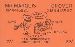 Mr. Marquis & Grover - Woodstock, Ontario (73sand88s by Cardboard America) Tags: qsl qslcard cb cbradio vintage ontario knight sesamestreet