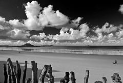 Baisse maree a Saint Malo (ceszij) Tags: france francia bretagne mer mar mare sea saintmalo plage playa spiaggia biancoenero blackandwhite blancoynegro