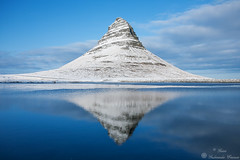 Reflection (Geinis) Tags: iceland ice winter winterscapes snfellsnes snow water white nature northern europe kirkjufell kuldi vetur blue bl mountain reflection sky cloud canon travel geinis