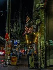 Dark Day (prima seadiva) Tags: night pikestreet political flag upsidedown 2016election chs bimbos graffiti stickers streetart seattle street