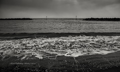 Foggy Elmer Beach (rhfo2o - rick hathaway photography) Tags: rhfo2o canon canoneos7d elmer elmersands bognorregis westsussex beach sea seaside sand waves seadefences channelmarker horizon sky skies clouds fog bw blackandwhite mono seascape