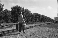 Walking along the Railroad (Tah Sakuldee) Tags: bangkok bw dailylife industrial thailand trees walking woker developingcountry harshsun blackandwhite filmphotography railroad railway pictorial