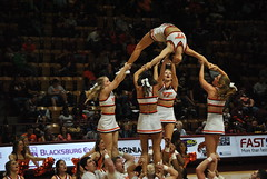 FLIPPIN' FOR VIRGINIA TECH (SneakinDeacon) Tags: acc vt vatech hokies cassellcoliseum cheerleaders bigsouth basketball panthers highpoint