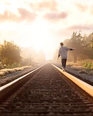 Walking The Line (tmors) Tags: adventure boy sunset amazing beautiful atmosphere california wonder walk walking railroad traintracks depth lines