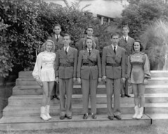 Robert E. Lee High School band members - Jacksonville (State Library and Archives of Florida) Tags: florida jacksonville roberteleehighschool bandmembers students drum majors majorettes drummajors