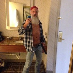 Being Sleezy (Cowboy Tommy) Tags: hotel selfie undressing unzipped unbutton tight package plaid bandana crotch bulge pubes pubichair beard beared levis jeans bluejeans sex sexy hot portrait