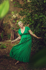 Ms. Nature (isabs) Tags: old lady portrait nature conceptual green dress soft light flow levitation leaf leaves woman age air