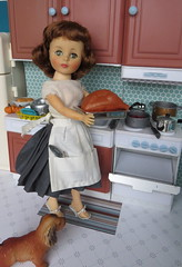 2. Starting the Turkey (Foxy Belle) Tags: doll vintage kitchen diorama barbie playscale 16 holiday dollhouse room scene food thanksgiving turkey oven dog