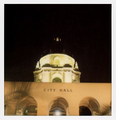 Pasadena City Hall Nights 2 (tobysx70) Tags: the impossible project tip polaroid sx70sonar sonar instant color film for sx70 type cameras impossaroid city hall nights route 66 rt rte north euclid garfield avenue pasadena california ca night nocturnal lit illuminated dome arches sign palmtree shadows toby hancock photography