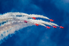 The Red Arrows fly in Formation at The Royal International Air Tattoo RIAT 2015, RAF Fairford