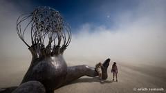 Brainchild (remash~) Tags: city sculpture man black art festival rock lumix michael desert christian burningman burning brc micro 43 bman 2015 brainchild bman15