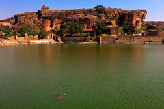 Samarpan. Badami, India (Marji Lang Photography) Tags: life travel india lake green water colors beautiful swimming swim relax landscape photography one freedom bath scenery rocks meditate alone natural indian relaxing documentary rocky free happiness scene cliffs greenlake enjoy meditating meditation feeling bathing karnataka universe enjoying oneperson surrender inde badami southindia freshwater letgo lettinggo immensity travelphotography samarpan 2013 rockcliffs colorfullake marjilang badamilake