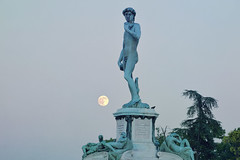 David and the full moon (MarcelGermain) Tags: trees summer italy sculpture david bird art statue bronze photography florence italian italia european pigeon fullmoon tuscany firenze toscana michelangelo clearsky piazzalemichelangelo traveldestinations marcelgermain
