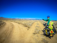 Andrew navigating the Great Divide Basin (analog).