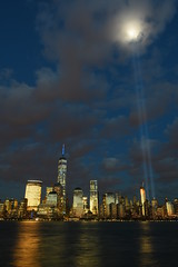 9-11 Tribute In Light 02 (Amaury Laporte) Tags: newyorkcity favorite usa newyork unitedstates 911 landmarks northamerica tributeinlight memorials september11memorial favorite2015
