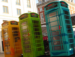 Telephone Boxes, Covent Garden (rayyaro) Tags: uk greatbritain blue england orange green london colours coventgarden telephoneboxes