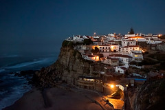 'Blue and Gold' (Canadapt) Tags: ocean houses sea cliff beach portugal night community surf waves azenhasdomar canadapt
