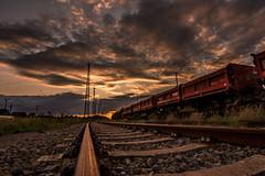 Sunset at Riesa train station (s4rgon) Tags: sunset sky clouds train sonnenuntergang himmel wolken zug bahnhof trainstation bahn hdr waggon gleis riesa gã¼ter