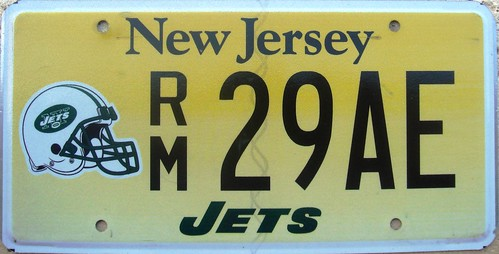 New York Jets (New Jersey) License Plate Football NFL