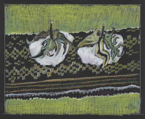 Cottonn bolls on a woven mat