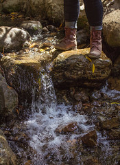 Over the River (sweet.disposition) Tags: henrycowells santacruz statepark water waterfall stream river boots fashion girl rocks rockformation bluejeans maroon leaves fall autumn outdoors nature hiking