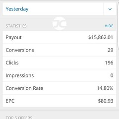 14.8% conversion and over $80 earning per click yesterday. All while I was having Dot Com Lunch. This is how I do it http://www.johnchow.com/ttsi