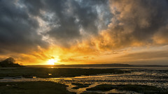 sunset over Red Wharf Bay (lunaryuna) Tags: uk wales anglesey island redwharfbay landscape seascape coast lowtide evening nightfall sunset sundown dusk sky clouds cloudscape colour panoramicviews lunaryuna