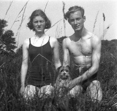 Lovely couple and their dog (vintage ladies) Tags: vintage family people portrait blackandwhite dog woman lady female man male swimwear swimmingcostume couple sexy lovely smile smiling