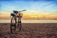 Sunrise at Nha Trang beach / Bnh minh trn bin Nha Trang (break_away) (V_Quang) Tags: alone beach bicycle blue clouds dawn nha one park sand sky sunrise trang transportation vietnam water wheel yellow nhatrang bin xep ct bibin phongcnh dulch