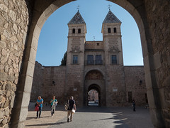 City gate (Lena and Igor) Tags: travel tourism europe spain toledo city wall gate arch sunset shadows panasonic pointandshoot dmc zs50 architecture towers people street