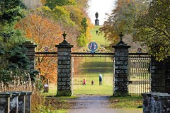 The Deer Gates. (artanglerPD) Tags: deer gates autumn colours ornamental iron large urn people