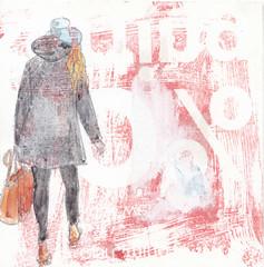 # 332 (27-11-2016) (h e r m a n) Tags: herman illustratie tekening bock oosterhout zwembad 10x10cm 3651tekenevent tegeltje drawing illustration karton carton cardboard back rug rucke ruggenfiguur ruckenfigur meisje girl hoed hat beeldbad