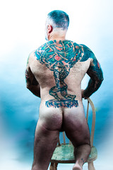 David (kitchenbeard) Tags: male portrait tattoo hairy shirtless muscle color white background black