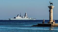 Type 45 Daring Class Destroyer ( Believed to be HMS Dragon) passes Rhodes Town Harbour - Greece (2013) (Olympus OMD EM5 &  Panasonic Lumix G 35-100mm f2.8 Zoom) (1 of 1) (markdbaynham) Tags: rhodes town harbour rhodos greece grecia greka greek hellas hellenic famous gr olympus omd em5 emem5 csc evil mirrorless m43 m43rd micro43 mft panasonic lumix g 35100mm f28