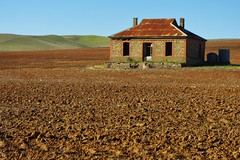 Diesel & Dust Farmhouse   Burra (Daniel Tindale) Tags: farm farmhouse house homestead cottage stone paddock field soil hills range rust galvo galvanised iron icon diesel dust midnight oil album cover goyder's line orange brown sky horizon midday noon afternoon landscape abandoned desolate desolation outback drought derelict decay decayed ruin ruined heritage history rural pastoral farming farmland country countryside rustic australian burra barrier highway wistow bugle ranges bugleranges adelaide south australia southaustralia sa daniel tindale danieltindale thom sullivan thomsullivan poet poetry poem pentax k20d