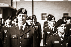 If Looks Could Kill (Johnny Silvercloud) Tags: army bw canon canon5dmarkiii contrast espritdecorps individuals lightroom5 people soldier uniform vignette blackwhite blackandwhite daytime detail highcontrast military monochrome nicehat sepia