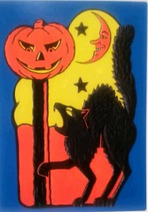 DE-4495042 (Kille.wips) Tags: postcard scary vintage cat pumpkin jack olantern orange