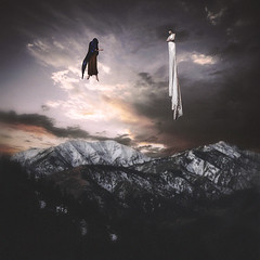 signs of adaptation (sparkbearer) Tags: fineartphotography 365project chelseaknight darkart spooky floating mama spirit ghost ghosts mountains snow cold alone air