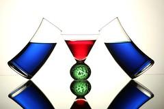 Red, Green, Blue, Balanced (Karen_Chappell) Tags: glass balance glasses red green blue white reflection liquid beverage stilllife