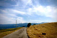 Wander in the hills (-Aldievel-) Tags: field sky mountains color clouds road colors roads fields cielo strada campo montagne nuvole montagna homeland colori strade matese monti campi paglia italy italia countryside campagna molise