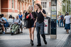 Exhibition Road (jonron239) Tags: london south kensingtonmanwomanboygirllonghair blonde curls jacket military shortskirt boots drmartens heart lolly poloshirt fred perry walking talking expression gesture
